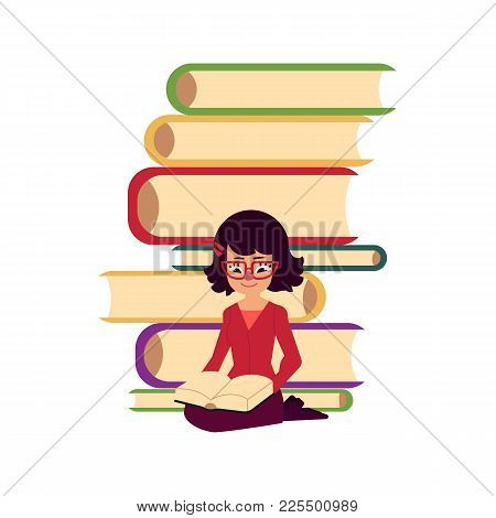Pile Of Books And Young Woman, Girl, Adult Sitting And Reading, Flat Cartoon Vector Illustration Iso