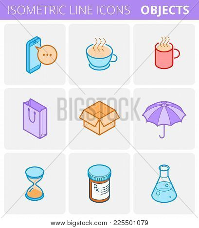 Colored Isometric Outline Icon Set. Vector Linear Symbols Collection. Flat Line Icons Of Objects: Mo