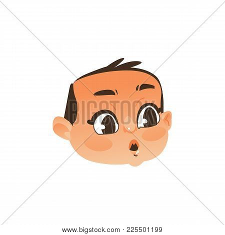 Comic Baby Face, Head With Wide Open Eyes And Mouth Showing Surprise, Flat Vector Illustration Isola