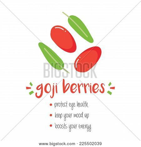Benefits Of Goji Berries With Doodle, Hand Drawn Illustration Isolated On White Background.
