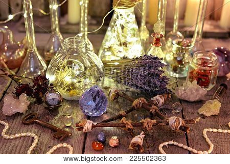 Witch Magic Collection With Lightning Bottles, Crystals, Pentagram, Old Key And Herbs. Occult, Esote