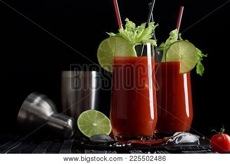 Bloody Mary Cocktail And Ingredients: Peper Chili, Lime, Celery, Ice And Shaker. Copy Space