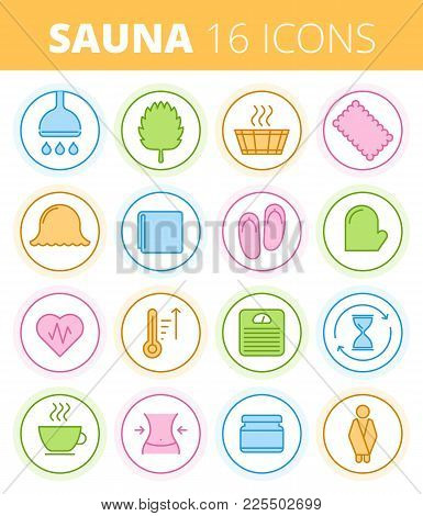 Traditional Sauna, Steam Bath And Spa Outline Icon Set. Wash And Swelter Equipment And Accessories L