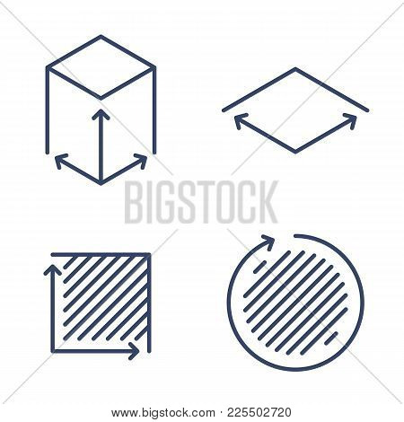 Size, Square, Area Concept Linear Icons. Volume, Capacity, Acreage Line Symbols And Pictograms. Size