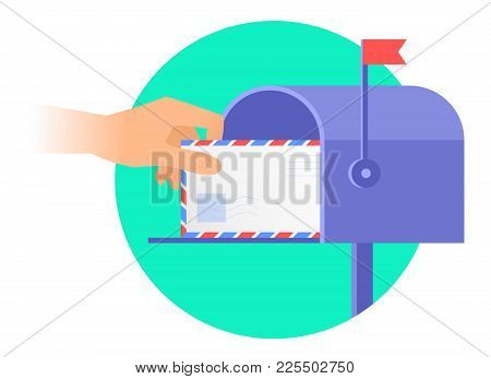 Human Hand Is Taking Out An Envelope From A Mailbox. Flat Vector Illustration Of Postbox And A Hand
