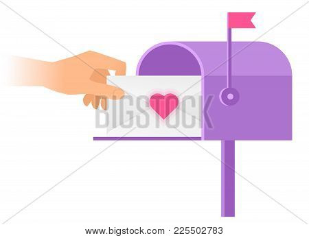 Human Hand Is Taking Out An Envelope With Heart Sign From A Mailbox. Flat Vector Illustration Of Pos