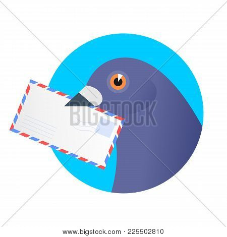 A Post Pigeon With An Envelope In The Beak. Flat Vector Illustration Of A Homing-pigeon Carring Avia