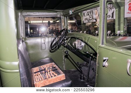 St. Petersburg, Russia - 7 May, Interior Of The Cabin Of A Soviet Truck, 7 May, 2017. Automobiles An