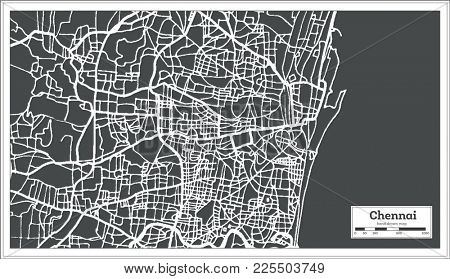 Chennai India City Map in Retro Style. Outline Map.