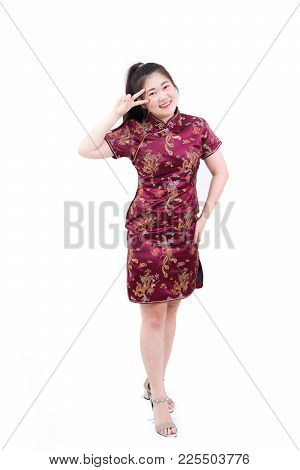 Portrait Of Asian Woman In Traditional Chinese Long Dress, Cheongsam, Black Hair, Nice Smile With Ch