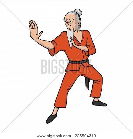 Shaolin Monk Practicing Kung Fu Or Wushu. Old Master Of Martial Art. Vector Illustration, Isolated O