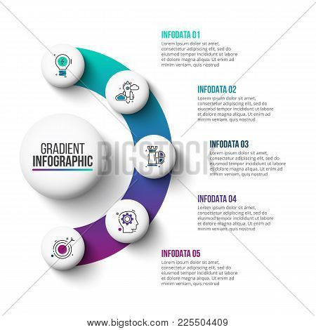 Business Data Visualization. Abstract Gradient Elements Of Graph, Diagram With 5 Steps, Options, Par
