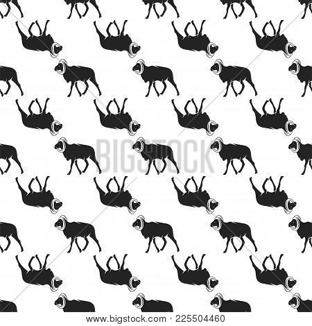 Wild Goat Pattern. Seamless Background Illustration With Wild Animal Symbols, Elements. Monochrome S