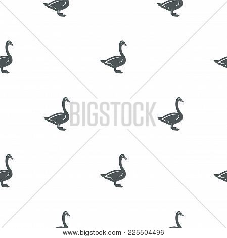 Swan Pattern. Seamless Background Illustration With Wild Animal Symbols, Elements. Monochrome Silhou