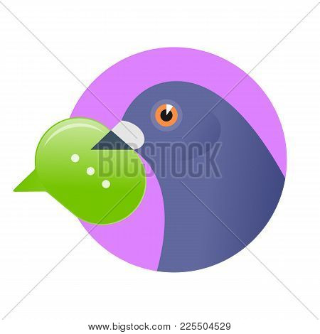Post Pigeon With Sms In The Beak. Flat Vector Illustration Of A Homing-pigeon Carring New Message In