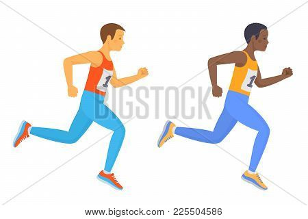 The Running School Boy Set. Side View Of Active Caucasian And Afro American Kids In A Sportswear. Sp