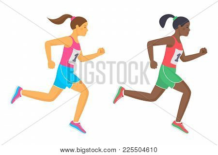 The Running School Girls In The Shirts And Shorts. Active Caucasian And Afro American Teenagers In S