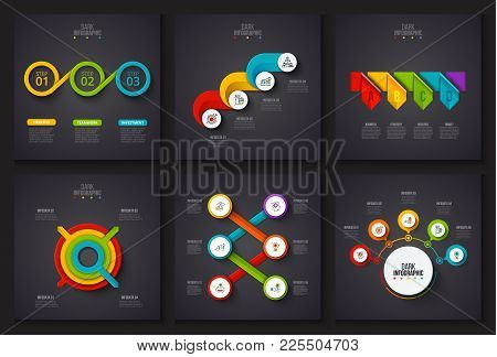 Vector Infographic Elements On Dark Background. Charts, Circle Diagram, Timelines And Arrows With 3,