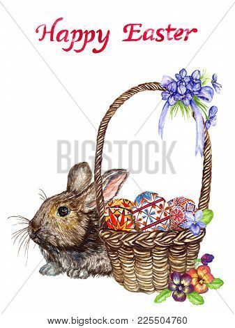 Easter Bunny Near Basket With Eggs With Traditional Painting And Spring Flowers: Pansies And Violets