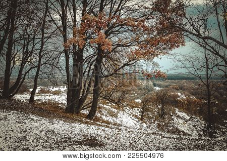 Later In The Fall. View From The Top Of A High Hill On The Coldest Day, After The First Snow. On Som