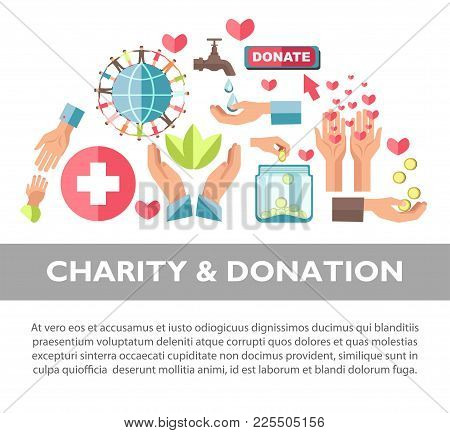 Charity And Donation Promotional Poster With Sample Text. Symbolic Human Hands, Red Hearts, Gold Coi