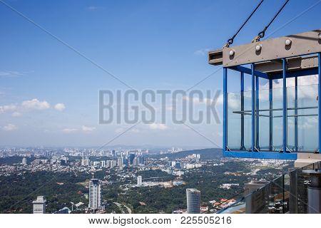 Glass Floor At Sky Deck Kl Tower Sky Box. Kuala Lumpur, Malaysia