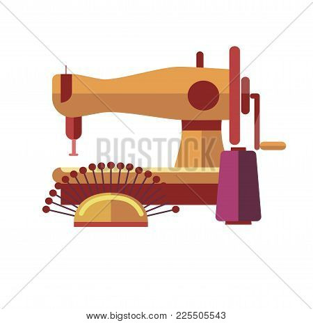 Sewing Equipment To Create Stylish Clothes By Yourself As Hobby Or Pastime. Special Machine, Coil Of
