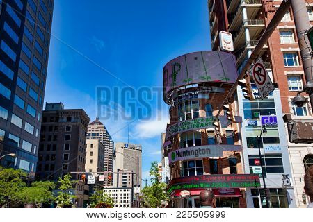 COLUMBUS, OHIO/United STATES - SEPTEMBER 13, 2016:  The hub of activity in downtown Columbus, Ohio is at the corner of High and Broad Streets.
