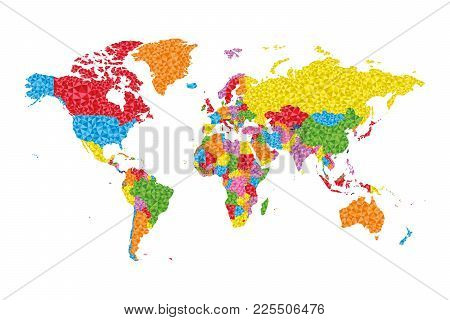 Low Poly World Map With Countries On Different Colors