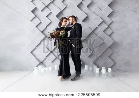 Wedding Couple, Bride And Groom Fashion Portrait, Over Gray Volumetric Squares Background With Copys