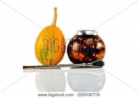 Calabash gourd, bombilla and fresh pumpkin. Isolated on white background.