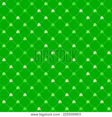 Bright Green Clover Leaves, Seamless Lattice Pattern. Minimal Vector Background. Flat Illustration O
