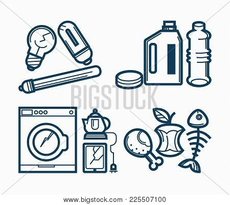 Broken Appliances And Dirty Trash. Light Bulbs With Crack, Empty Bottles Of Chemical Cleaning Agents