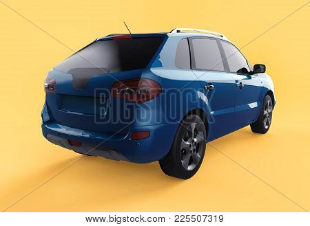 Compact City Crossover Blue Color On A Yellow Background. Right Rear View. 3d Rendering
