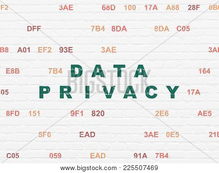 Privacy Concept: Painted Green Text Data Privacy On White Brick Wall Background With Hexadecimal Cod