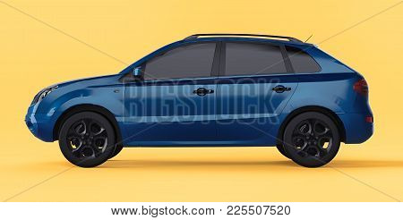 Compact City Crossover Blue Color On A Yellow Background. Left View. 3d Rendering