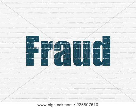 Security Concept: Painted Blue Text Fraud On White Brick Wall Background