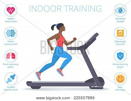 Beautiful Afro-american Woman Is Running On The Treadmill. Flat Vector Illustration Of Athletic Youn
