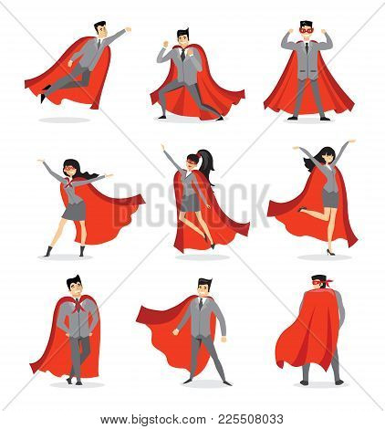 Vector Illustrations In Flat Design Of Set Of Businessmen And Businesswomen Superheroes With The Red
