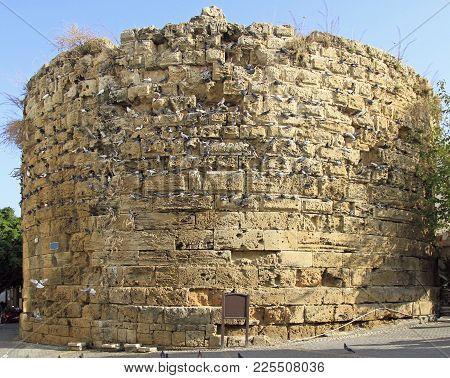 Kyrenia, Cyprus - November 18, 2017: The Round Tower In Kyrenia, Turkish Controlled Area Of Cyprus