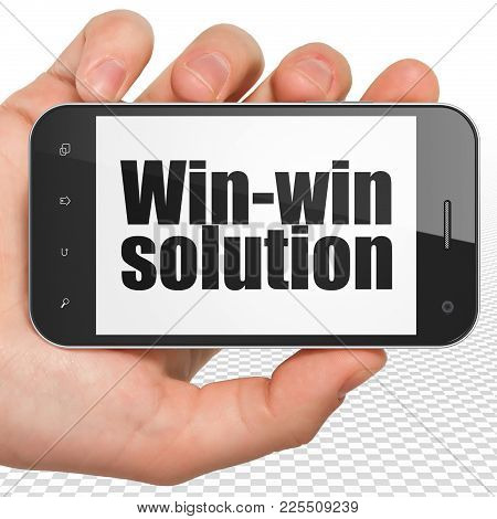 Finance Concept: Hand Holding Smartphone With Black Text Win-win Solution On Display, 3d Rendering