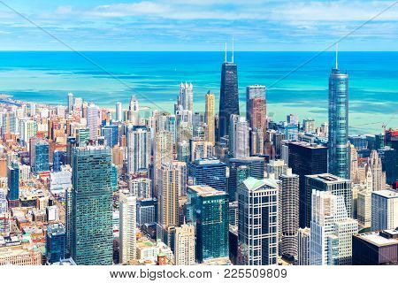 Chicago Skyline. Cityscape Of Downtown, Aerial Panorama, Illinois, Usa