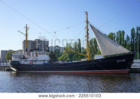 Kaliningrad, Russia - May 11, 2016: Large Ship, In The Museum Of The World Ocean, Standing On The Do