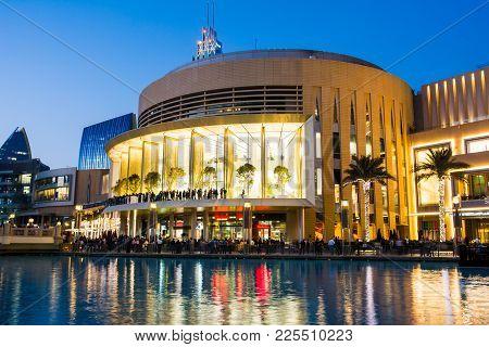 Dubai, United Arab Emirates - February 5, 2018: Dubai Mall Modern Architecture Reflected In The Foun