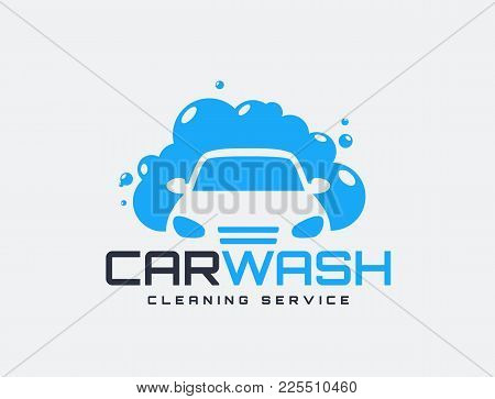 Carwash Logo Isolated On White Background. Vector Emblem For Car Cleaning Services.