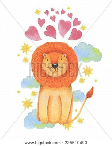 Watercolor Illustration Animal Cute Lion On A White Background, Heart,star,clouds. Hand Draw Illustr