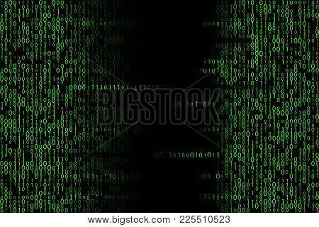 Green Matrix Backdrop. Digital Binary Code Illustration