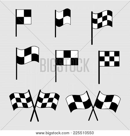 Checkered Flag Icons. Finish Signs Set Illustration