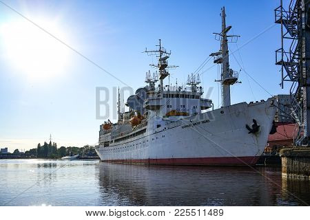 Kaliningrad, Russia - May 11, 2016: The Research Vessel Named In Honor Of Cosmonaut Viktor Patsaev,