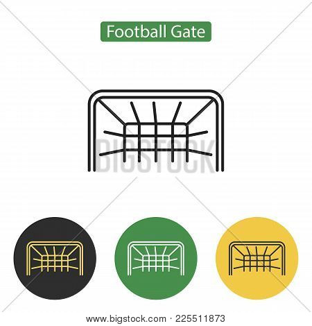 Soccer Gate Icon. Gate Frame Soccer Or Football Equipment. Sport Accessories Collection For Info Gra